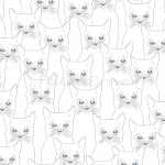 Fat Quarter - Full Moon - Cats - White/Silver