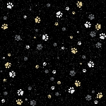 Fat Quarter - Full Moon - Paws - Black/Gold