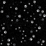 Fat Quarter - Full Moon - Paws - Onyx/Silver