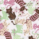 Fat Quarter - Funky Kitties - Pink