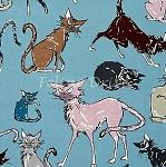 Fat Quarter - 9 Ghastlie Lives - Sebastian the Cat - Freezing Blue