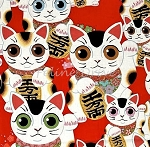 Fat Quarter - Good Luck Kitty - Red
