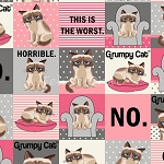 Flannel - Grumpy Cat - Squares - Pink