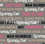 Fat Quarter - Grumpy Cat - Cat Words - Grey