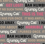 End of Bolt Piece - Flannel - Grumpy Cat - Cat Words - Gray - 10