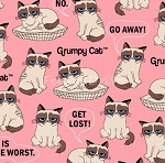 Flannel - Grumpy Cat - Pink