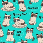 Flannel - Grumpy Cat - Turquoise