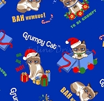 End of Bolt Piece - Grumpy Cat - Christmas Allover - Blue - 12
