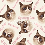 Fat Quarter - Grumpy Cat - Cat Toss - Cream