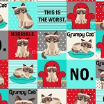 Flannel - Grumpy Cat - Squares - Turquoise
