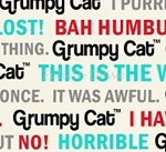 Fat Quarter - Grumpy Cat - Cat Words - Cream