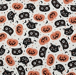 Fat Quarter - Halloween Cats, Owls, & Pumpkins - Ivory