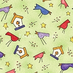 Fat Quarter - Happy Catz - Birds & Birdhouses - Green