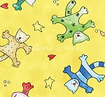 Fat Quarter - Happy Catz - Cat Toss - Yellow