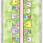 Fat Quarter - Happy Catz - Cat Stripe - Green
