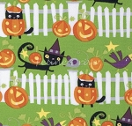 Fat Quarter - Happy Halloween Fence - Ghoul
