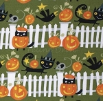 Fat Quarter - Happy Halloween Fence - Spooky