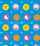 End of Bolt Piece - Hello Kitty - Circles & Stars - Blue - 24