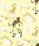 Fat Quarter - Here Kitty Kitty Organic - Cat Toss - Yellow