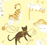 Here Kitty Kitty Organic - Cat Toss - Yellow