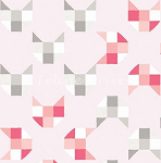 Fat Quarter - Here Kitty Kitty Organic - Geo Cats - Pink