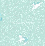 Fat Quarter - Here Kitty Kitty Organic - Scribble Toss - Aqua