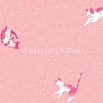 Fat Quarter - Here Kitty Kitty Organic - Scribble Toss - Pink