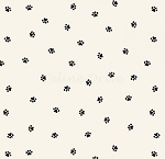 End of Bolt Piece - Hey Mister - Paw Prints - Cream - 6