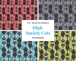 Fat Quarter Bundle - High Society Cats - 4 FQs