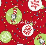 Fat Quarter - Holiday Dr. Seuss - The Cat in the Hat Christmas - Red