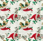 Fat Quarter - Vintage Holiday Kittens