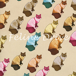 Fat Quarter - Home Sew-eet Home - Cats - Tan