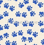 Hot Dogs & Cool Cats - Paw Prints - Blue