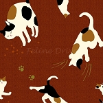 Fat Quarter - Hyakka Ryoran Neko 2 - Cat Toss - Rust