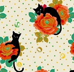 End of Bolt Piece - Hyakka Ryoran Neko 4 - Cats & Roses - Cream - 13