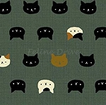 Fat Quarter - Hyakka Ryoran Neko 2 - Cat Faces - Teal