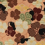 Fat Quarter - Hyakka Ryoran Neko - Cat Play Floral - Peach
