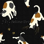 Fat Quarter - Hyakka Ryoran Neko 2 - Cat Toss - Black