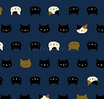 Fat Quarter - Hyakka Ryoran Coneco - Kitten Faces - Dark Blue