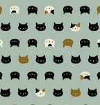 Fat Quarter - Hyakka Ryoran Coneco - Kitten Faces - Light Green