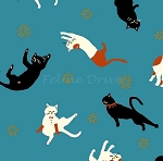 Fat Quarter - Hyakka Ryoran Coneco - Kitten Toss - Blue