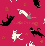Fat Quarter - Hyakka Ryoran Coneco - Kitten Toss - Red