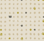Fat Quarter - Hyakka Ryoran Neko 2 - Cat Heads, Paws, & Dots - Cream