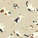 Fat Quarter - Hyakka Ryoran Neko 2 - Cat Toss - Cream