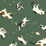 Fat Quarter - Hyakka Ryoran Neko 2 - Cat Toss - Teal
