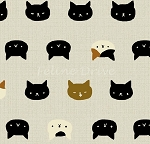 Fat Quarter - Hyakka Ryoran Neko 2 - Cat Faces - Silver