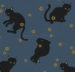 Fat Quarter - Hyakka Ryoran Neko 4 - Cat Toss - Blue