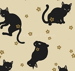 Fat Quarter - Hyakka Ryoran Neko 4 - Cat Toss - Cream
