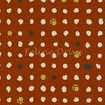 Fat Quarter - Hyakka Ryoran Neko 2 - Cat Heads, Paws, & Dots - Rust