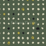 Fat Quarter - Hyakka Ryoran Neko 2 - Cat Heads, Paws, & Dots - Teal